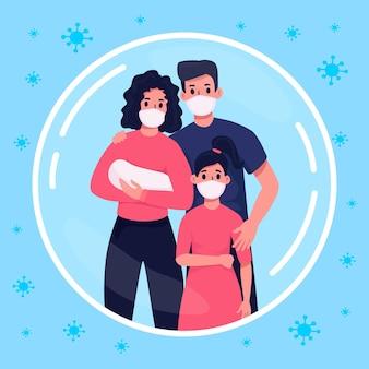 Família protegida da ilustração do vírus