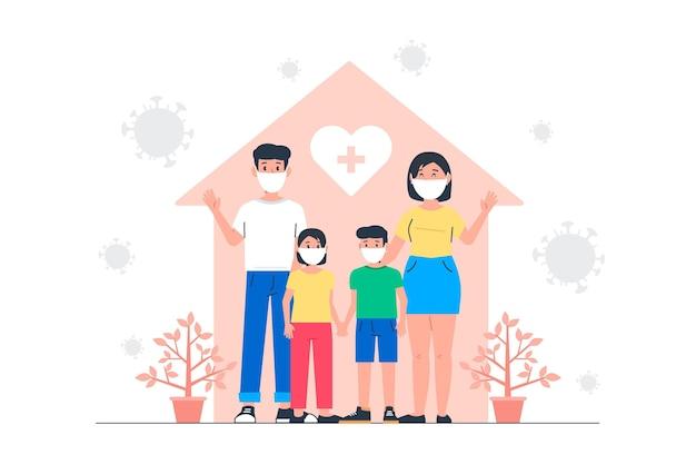 Família protegida do conceito de vírus Vetor grátis