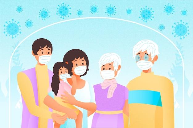 Família protegida do conceito de vírus