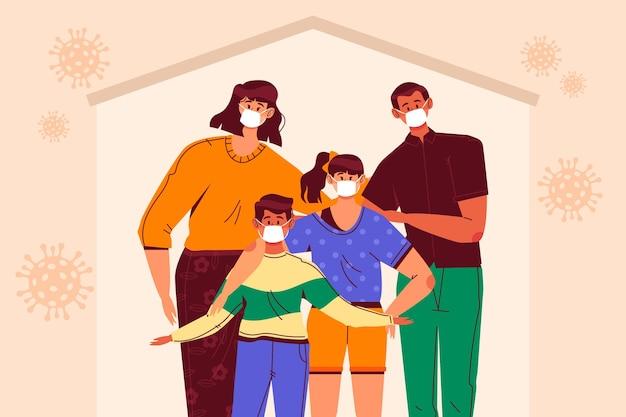Família protegida do tema do vírus