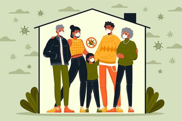 Família protegida do vírus dentro de casa Vetor grátis