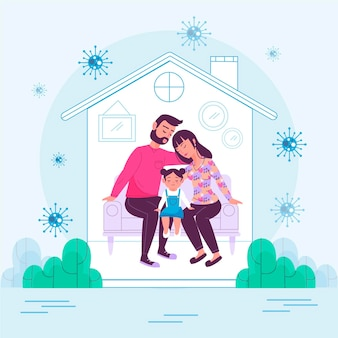 Família protegida do vírus em casa