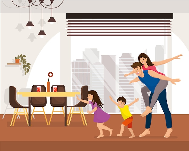Família que aprecia o conceito novo do vetor dos desenhos animados da casa