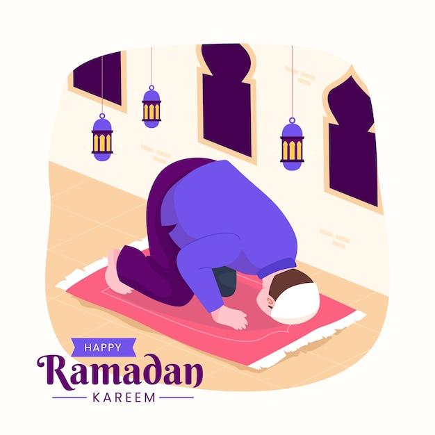 Família ramadan kareem mubarak com muçulmano orando durante o jejum à noite, lanterna e lua crescente.