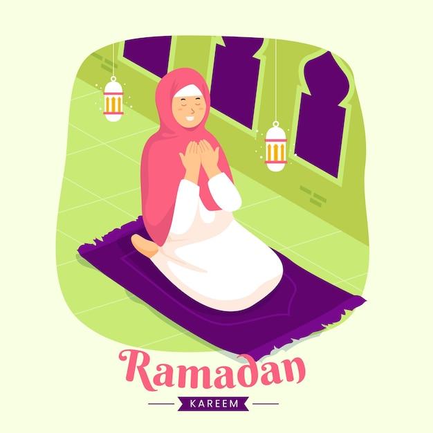 Família ramadan kareem mubarak com mulher muçulmana orando durante o jejum à noite lanterna e lua crescente,