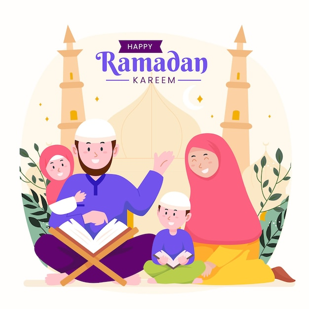 Família ramadan kareem mubarak com pais e filhos lendo alcorão durante o jejum,