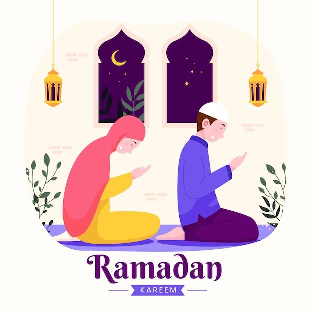Família ramadan kareem mubarak com pais muçulmanos orando durante o jejum na lanterna noturna e lua crescente,