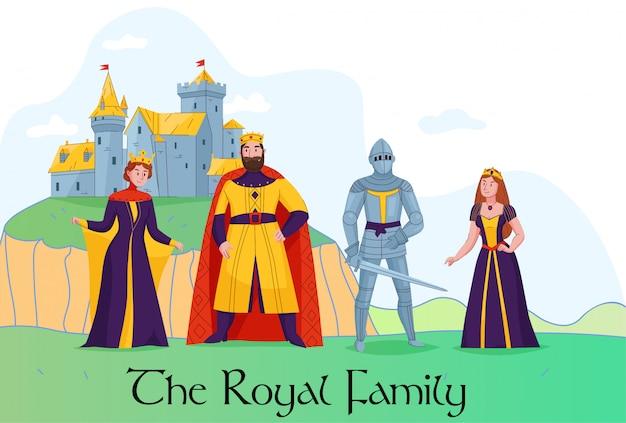 Família real do reino medieval em frente a composição plana do castelo com ilustração em vetor rei rainha cavaleiro princesa