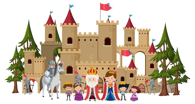 Família real feliz em frente ao castelo
