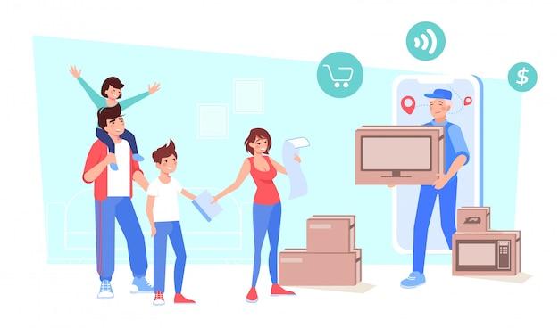 Família recebendo produtos eletrônicos on-line