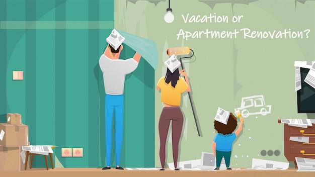 Família reparando apartamentos quarto dos desenhos animados