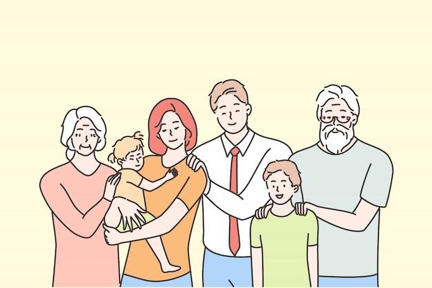 Família, retrato, maternidade, paternidade, infância, conceito de amor