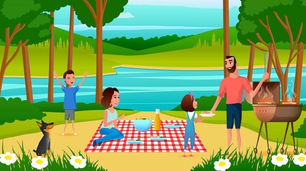 Família se divertindo no vetor de desenhos animados de piquenique