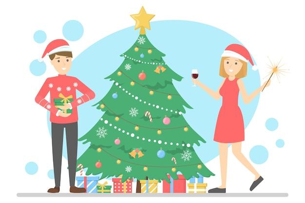 Família se divertir juntos na árvore de natal. decoração tradicional do feriado para festa. pessoas felizes com presentes na celebração. ilustração