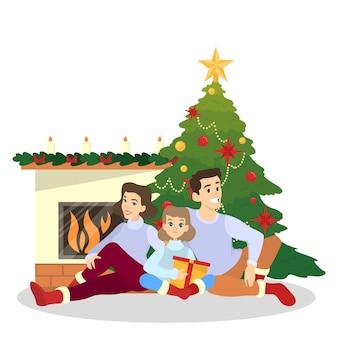 Família se divertir juntos na árvore de natal. decoração tradicional do feriado para festa. pessoas felizes com presentes na celebração sittinf na lareira. ilustração