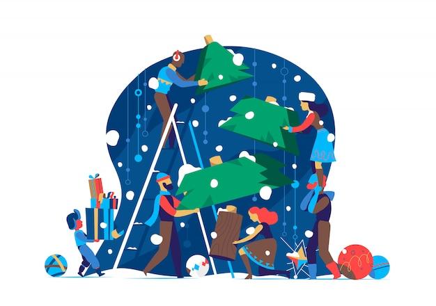 Família se preparar para celebrar o natal / ano novo, fazer a árvore de natal juntos