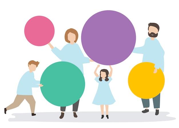 Família, segurando, colorido, círculos, ilustração