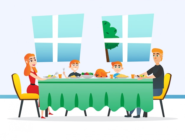 Família sentada à mesa, comendo no dia de ação de graças