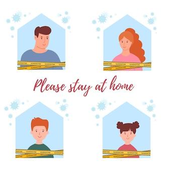 Família sentada em casa quarentena ou autoisolação aviso quarentena de coronavírus