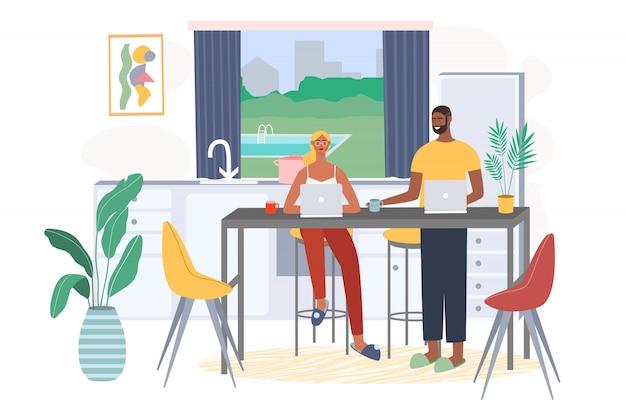 Família sentada na cadeira com o computador portátil e trabalhando em casa. trabalho freelance e conceito de vetor de local de trabalho conveniente