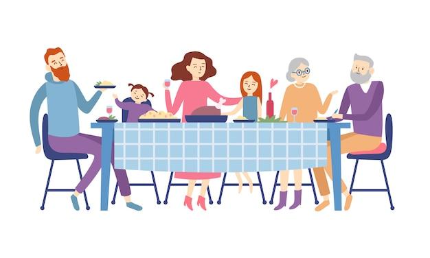 Família sentada na mesa de jantar. as pessoas comem comida festiva, férias falando e ilustração de reunião de jantar em família