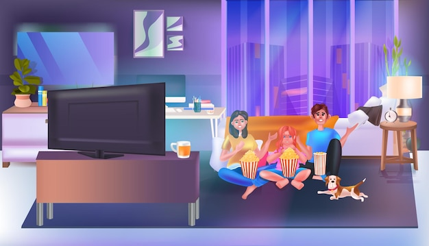 Família sentada no sofá assistindo tv e comendo pipoca. pais felizes e filha passando um tempo juntos na ilustração horizontal interior da sala de estar