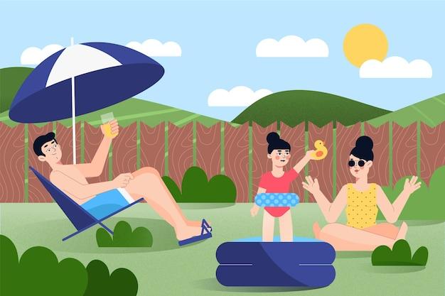 Família sentada no sol staycation