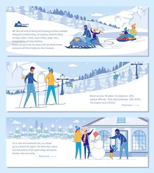 Família ski resort hotel banner conjunto de publicidade.