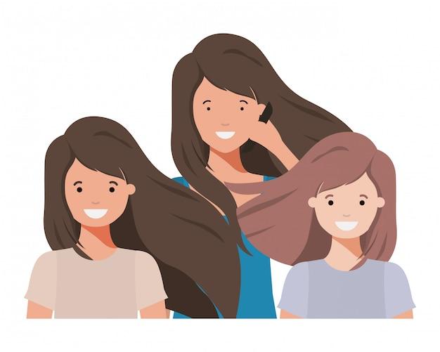 Família sorrindo e acenando personagem avatar