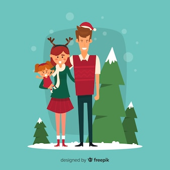 Família, sorrindo, exterior, natal, ilustração