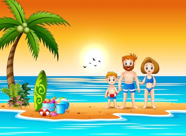 Família, tendo divertimento, em, feriado verão