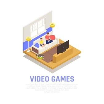 Família tocando composição com símbolos de videogame isométrica