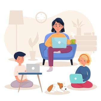 Família trabalhando em casa