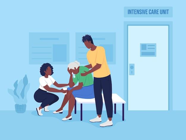Família triste em ilustração vetorial de cor plana de hospital adolescentes confortam vovó