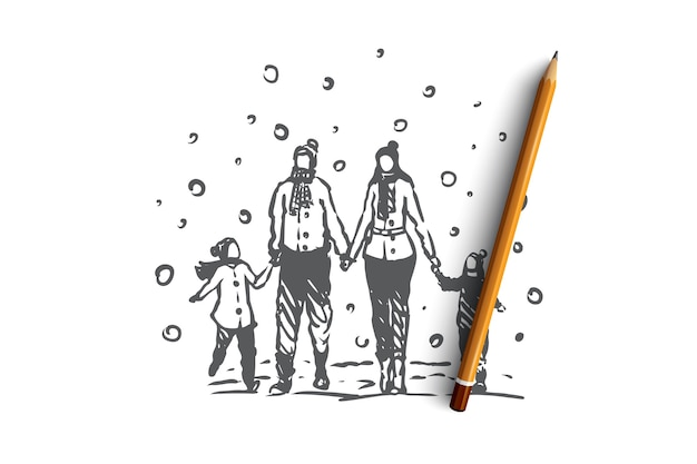 Família, união, inverno, conceito de felicidade de natal. pais e dois filhos andando na neve no inverno e de mãos dadas. ilustração de esboço desenhado à mão