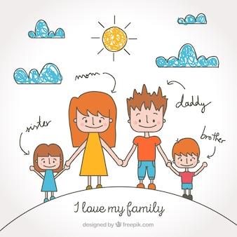 Família unida esboços fundo