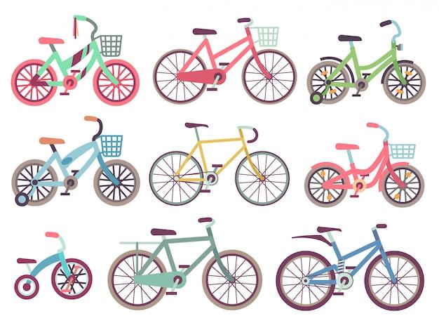 Família urbana motos conjunto plano. coleção de bicicletas diferentes