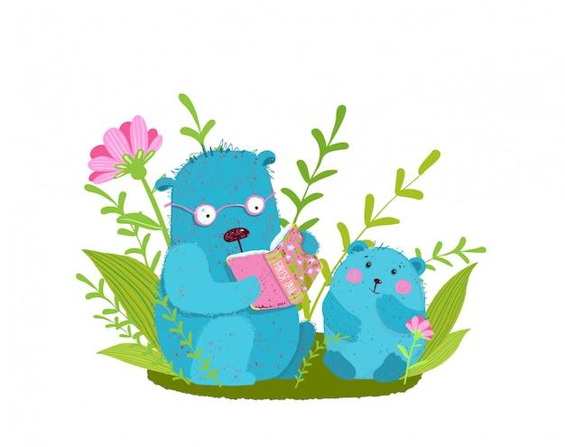 Família urso bonito lendo livro, estudando e ensinando na natureza.