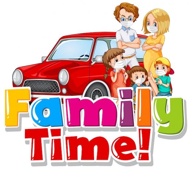 Família usando marca na frente do carro