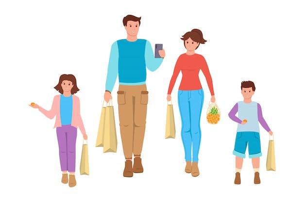 Família vai às compras estilo cartoon. sacolas de supermercado, embalagens de alimentos. pessoas, pai, mãe e filhos a sorrir