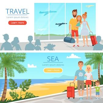 Família vai de férias. povos no aeroporto. banners de vetor de ilustrações do conceito de viagens