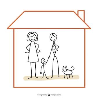 Família vetor casa