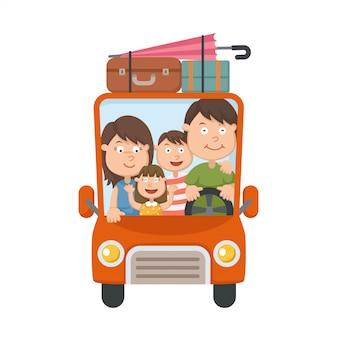 Família, viajando, carro