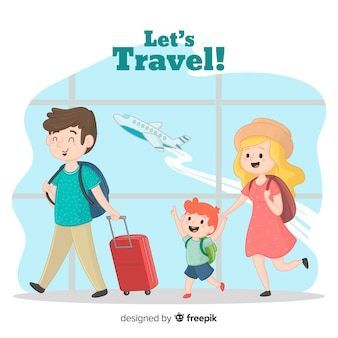Família, viajando, fundo