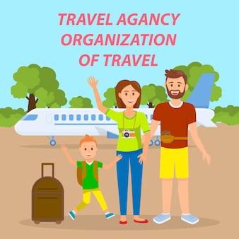 Família viajando pela bandeira de mídia social de avião.