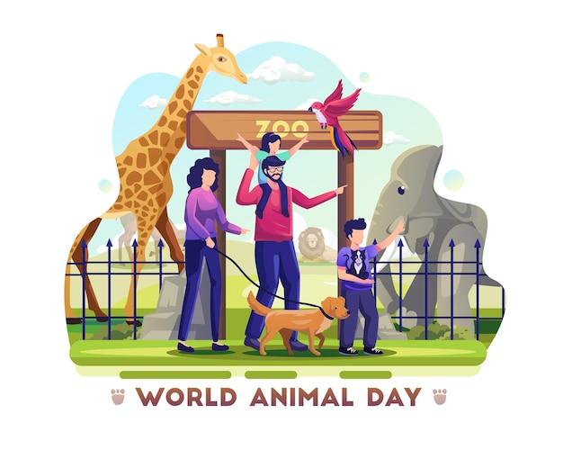 Família visita o santuário de vida selvagem do zoológico para celebrar o dia mundial dos animais. ilustração