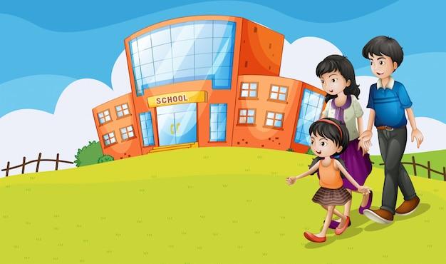 Família visitando a escola
