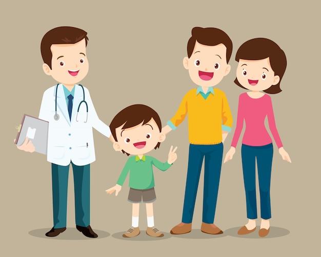 Família visitando o médico