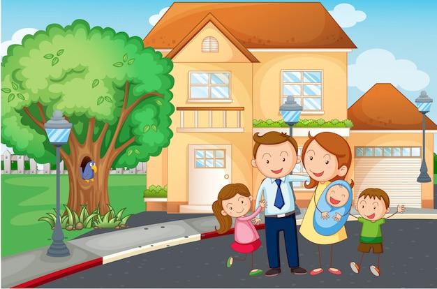 Família vivendo em casa