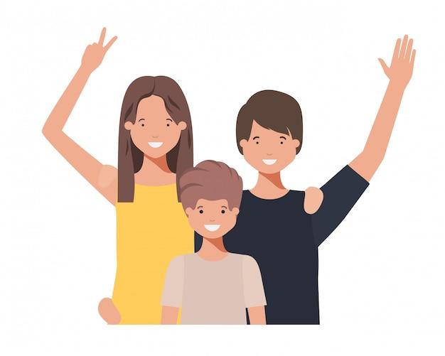 Família, waving, avatar, personagem